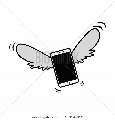 Flying or Floating Phone Flat Cartoon Illustration