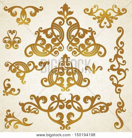 Vector set of scrolls and vignettes in Victorian style. Element for design. It can be used for decorating of wedding invitations greeting cards decoration for bags and at tattoo creation.