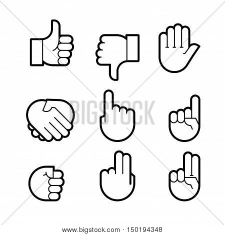 hand gestures. line icons set. Flat style vector icons emblem symbol For Your Design