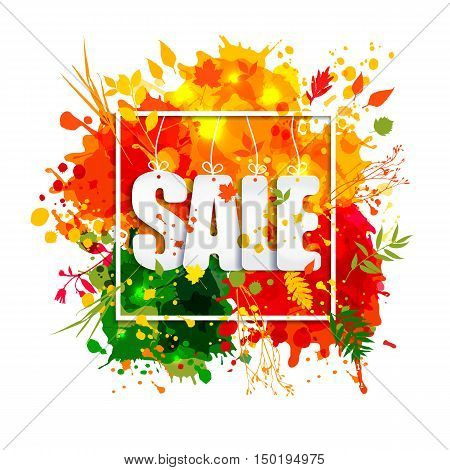 Text Sale In Frame In Paper Style On Multicolor Blots Background.