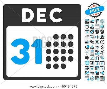 Last Year Day pictograph with bonus calendar and time management images. Vector illustration style is flat iconic bicolor symbols, blue and gray colors, white background.