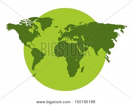 The Continents Of The Planet, Environmental Protection, Green Planet On A White Background. Vector I