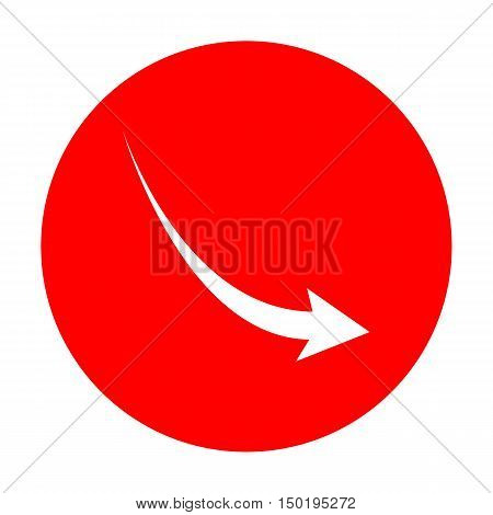 Declining Arrow Sign. White Icon On Red Circle.