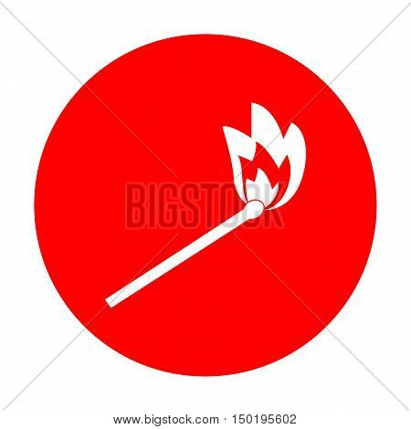 Match Sign Illustration. White Icon On Red Circle.