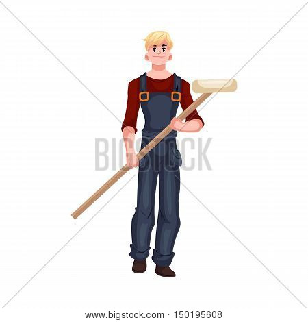 Full length portrait of male house painter holding a paint roller, cartoon style vector illustration isolated on white background. Young and handsome house painter in overalls with a paint roller