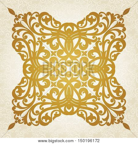 Symmetric ornament pattern in Victorian style on seamless curls background. Element for design. It can be used for decorating of invitations cards decoration for bags and at tattoo creation.