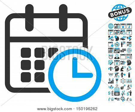 Timetable pictograph with bonus calendar and time management pictogram. Vector illustration style is flat iconic bicolor symbols, blue and gray colors, white background.