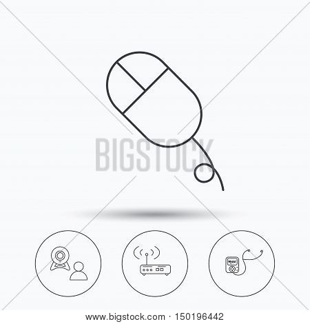 Wi-fi router, video chat and music player icons. PC mouse linear sign. Linear icons in circle buttons. Flat web symbols. Vector
