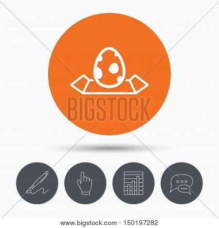 Dinosaur egg icon. Location map symbol. Pokemon egg concept. Speech bubbles. Pen, hand click and chart. Orange circle button with icon. Vector