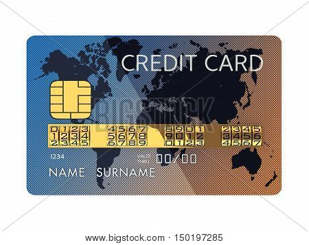 Generic credit card with combination lock as identification number isolated on white , Banking security , Fraud , 3d illustration