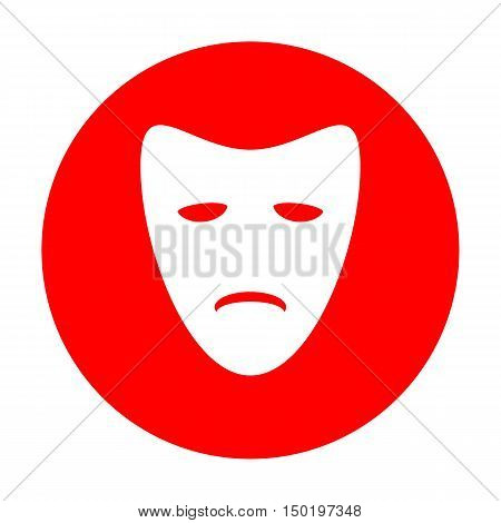 Tragedy Theatrical Masks. White Icon On Red Circle.