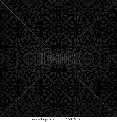 Vector seamless pattern with swirls and floral motifs in retro style. Dark background in Victorian style. It can be used for wallpaper pattern fills web page background surface textures.
