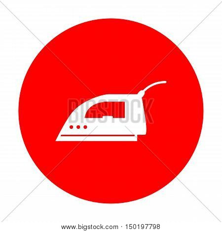 Smoothing Iron Sign. White Icon On Red Circle.
