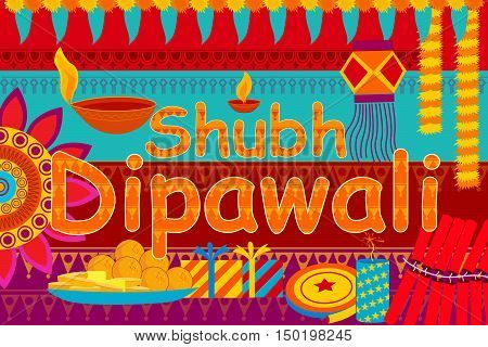 vector illustration of festival background kitsch art India with message meaning Happy Dipawali