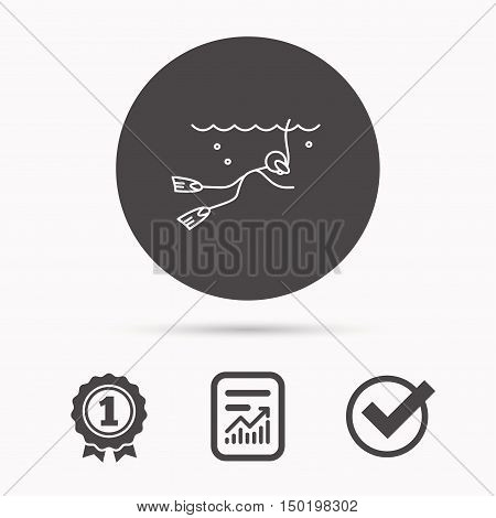 Diving icon. Swimming underwater with tube sign. Scuba diving symbol. Report document, winner award and tick. Round circle button with icon. Vector