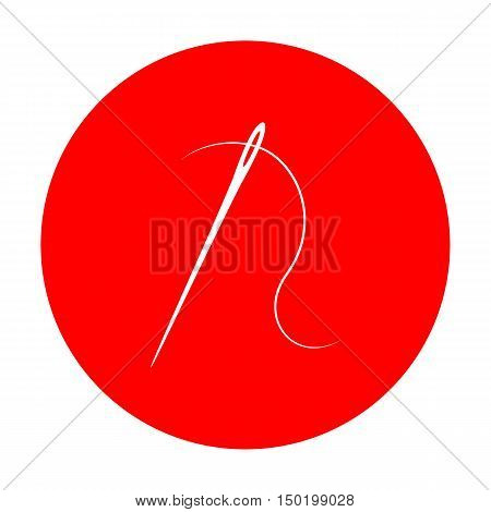 Needle With Thread. Sewing Needle, Needle For Sewing. White Icon On Red Circle.
