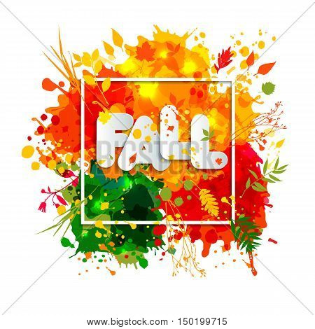 Text Fall In Frame In Paper Style On Multicolor Blots Background. Hand Drawn Grunge Blots Elrments.