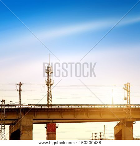 view of a huge concrete viaduct for high-speed train China