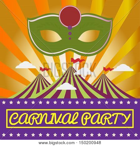 Digital vector green mask over orange background with clouds, carnival party, flat style