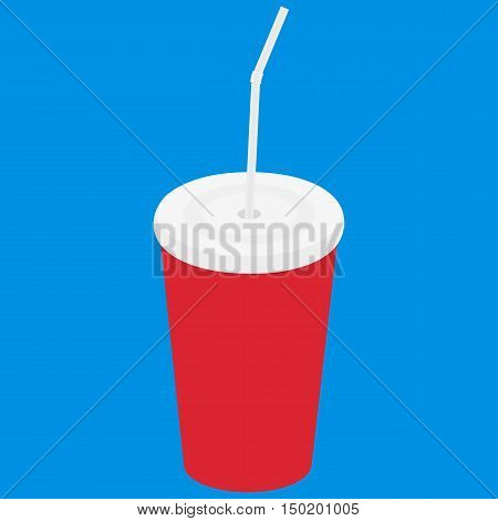 Paper cup icon. Paper red cups with straws for soda or cold beverage. Vector illustration flat design. Isolated cup with long shadow. Drink icon. Fast food drink icon.