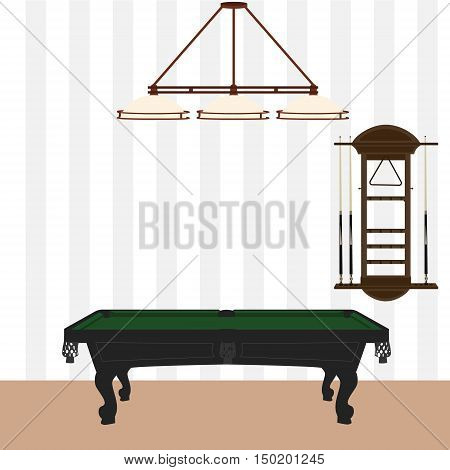 Vector illustration retro vintage pool table with green cloth wall cue rack and lamp with three shades. Pool billiard room