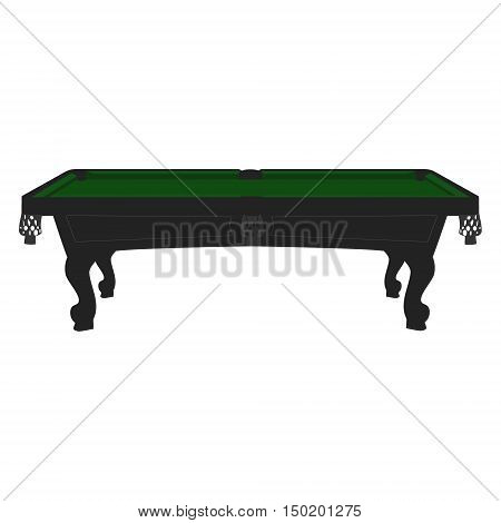 Vector illustration retro vintage pool table with green cloth. Empty billiard table