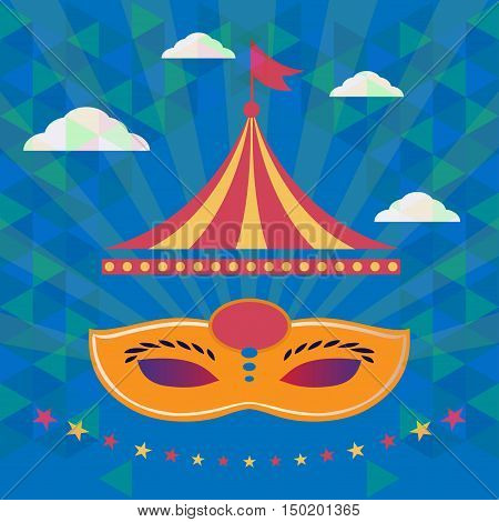 Digital vector orange mask over blue background with clouds, carnival party, flat style
