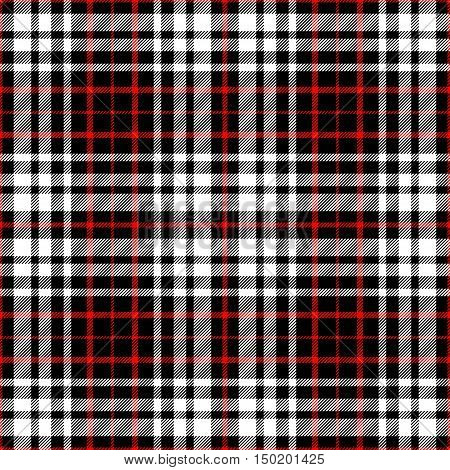 Seamless tartan plaid pattern in classic color combo of red, black & white.