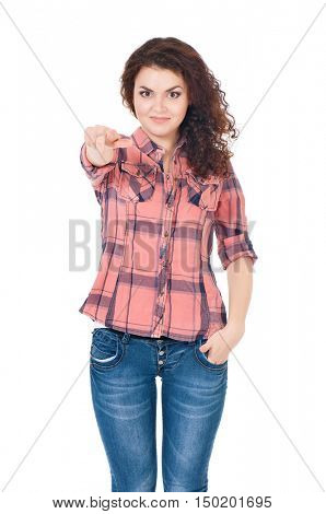 Happy smiling young woman or teenage girl pointing finger to you. Teen girl pointing at camera choosing you, isolated on white background. Portrait of beautiful female - gesture and people concept.
