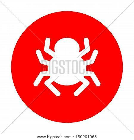 Spider Sign Illustration. White Icon On Red Circle.