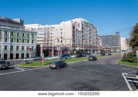 Moscow, Russia - 09.21.2015 View of the Gogol Boulevard and Rosselkhozbank