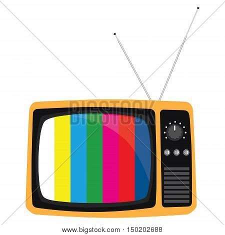 Vector illustration orange retro tv with antenna flat icon. Retro television