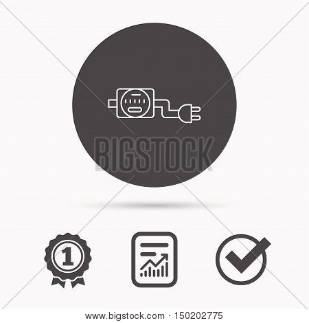 Electric counter icon. Electricity with plug sign. Report document, winner award and tick. Round circle button with icon. Vector