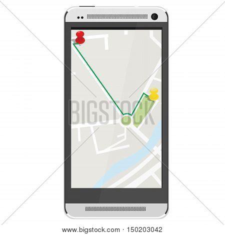 White realistic mobile smartphone with gps navigation. Gps device. Navigation map. Gps navigator