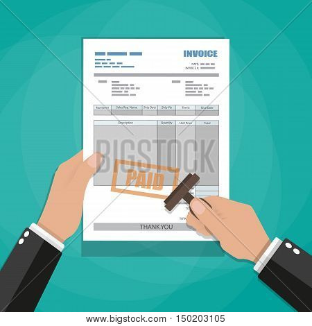 Hand holding invoice and stamp with paid stamp mark. paper invoice form. tax. receipt. bill. vector illustration in flat style on green background
