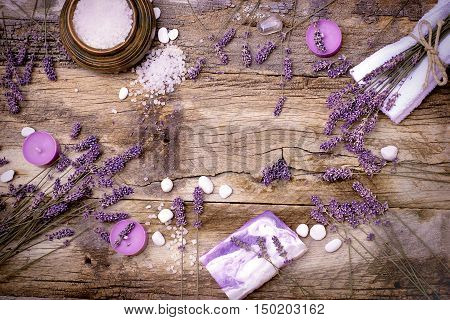 Lavender soap, scented salt and spa stones - Spa treatment for your health and pleasure