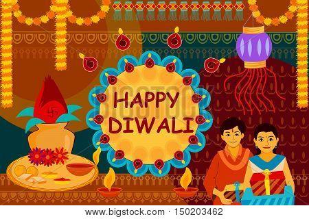 vector illustration of Indian family celebrating Bhai Dooj during Happy Diwali festival background kitsch art India