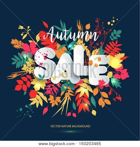 Text Sale In Paper Style On Multicolor Background With Autumn Leaves. Hand Drawn Grunge Blots Elemen
