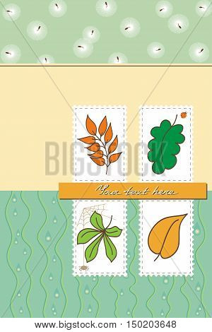 Postcard for autumn theme. Cartoon bugs rain and falling leaves. Soft yellow and green colors