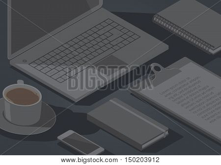 Dark background with isometric stationery office objects coffee and laptop computer. Vector illustration.