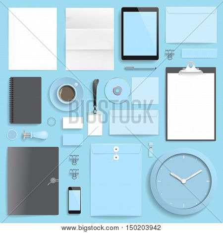 Corporate identity template on blue background. Use layer