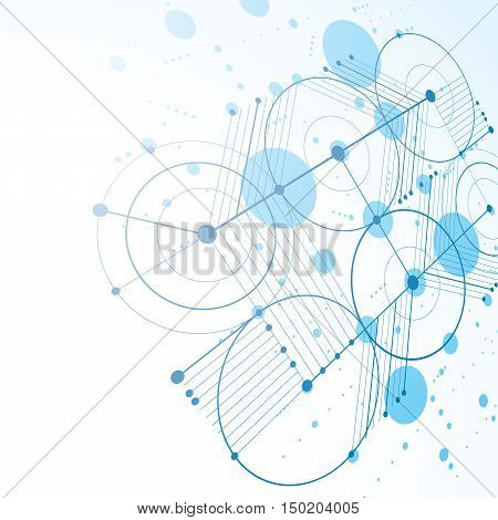3d vector Bauhaus abstract blue background made with grid and overlapping simple geometric elements circles and lines.