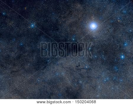 The Coalsack Dark Nebula is the most prominent dark nebula in the skies, easily visible to the naked eye. Located in the constellation Crux. Retouched image. Elements of this image furnished by NASA.