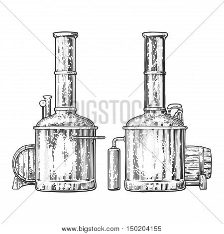 Row of tanks and wooden barrel in brewery beer. Isolated on white background. Vintage vector engraving illustration for web poster label invitation to oktoberfest festival and party.