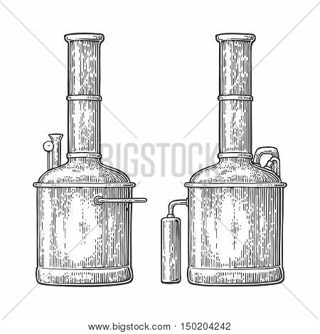 Row of tanks in brewery factory beer. Isolated on white background. Vintage vector engraving illustration for web poster label invitation to oktoberfest festival and party.