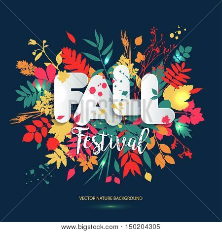 Text Fall Festival In Paper Style On Multicolor Background With Autumn Leaves. Hand Drawn Grunge Blo