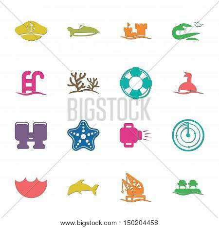 sea 16 icons universal set for web and mobile flat