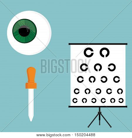 Vector illustration optical ophthalmology icons set symbols. Eyeball eye dropper and eye test