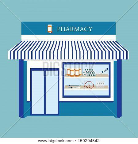 Vector illustration pharmacy drugstore shop facade. Pharmacy building on blue background