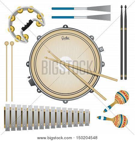 Set of percussion music instruments, drums, maracas, tambourine, drumsticks, metallophone